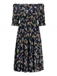 Plus Size Flounce Midi Floral Chiffon Off The Shoulder Dress