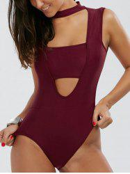 High Neck Cut Out Bodysuit - WINE RED