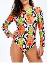 Pineapple Print Backless High Neck Swimsuit