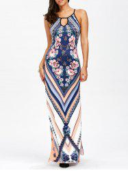 Keyhole Neck Floral Chevron Tall Maxi Dress - BLUE