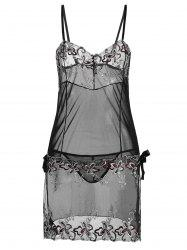 Plus Size Lingerie Embroidered Sheer Slip Dress - BLACK
