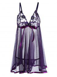 Lingerie Mesh Sheer Plus Size Slip Dress - PURPLE