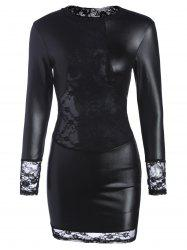 Long Sleeve Lace Panel Lingerie Dress
