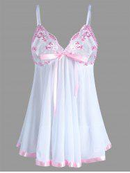 Embroidered Plus Size Mesh Lingerie Bodydoll Slip Dress - WHITE 4XL