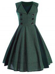 Front Buttoned Printed Vintage Dress -