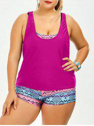 Plus Size Print Strappy Padded Bathing Suit -