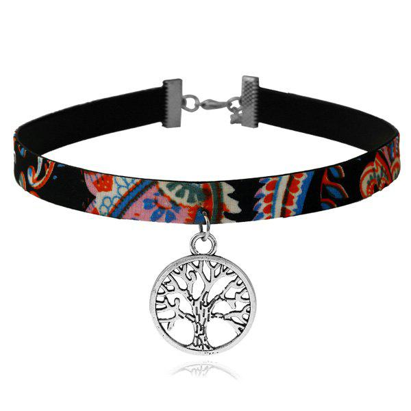 Tree of Life Ethnic Choker NecklaceJEWELRY<br><br>Color: MULTICOLOR; Item Type: Chokers Necklace; Gender: For Women; Style: Trendy; Shape/Pattern: Plant; Length: 41CM; Weight: 0.0400kg; Package Contents: 1 x Necklace;