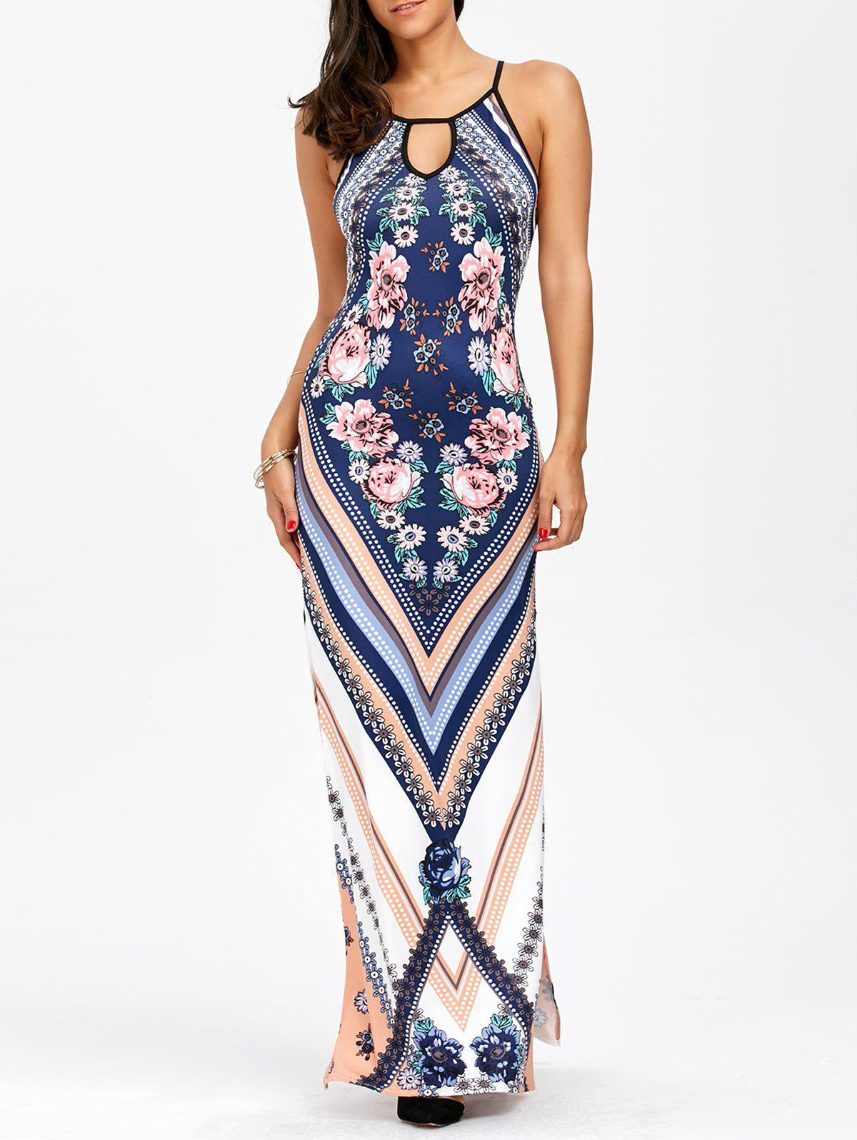 Keyhole Neck Floral Chevron Tall Maxi DressWOMEN<br><br>Size: L; Color: BLUE; Style: Bohemian; Material: Polyester; Silhouette: Sheath; Dresses Length: Floor-Length; Neckline: Keyhole Neck; Sleeve Length: Sleeveless; Waist: Natural; Pattern Type: Floral; Placement Print: Yes; With Belt: No; Season: Summer; Weight: 0.2800kg; Package Contents: 1 x Dress;
