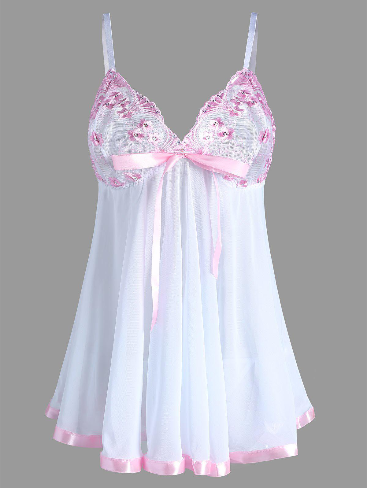 Embroidered Plus Size Mesh Lingerie Bodydoll Slip DressWOMEN<br><br>Size: 6XL; Color: WHITE; Material: Nylon,Spandex; Pattern Type: Patchwork; Embellishment: Lace,Ribbons,Sequins; Weight: 0.1600kg; Package Contents: 1 x Dress  1 x T Back;