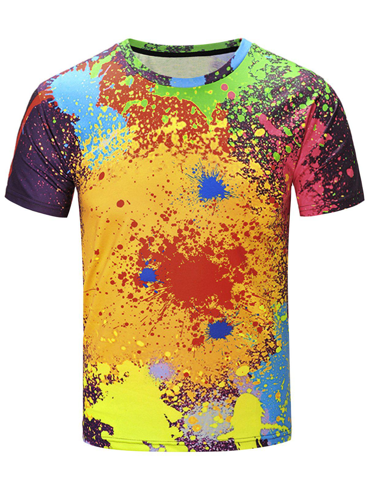 Short Sleeve Color Block Splatter Paint Print T-ShirtMEN<br><br>Size: 3XL; Color: COLORMIX; Style: Fashion; Material: Cotton,Polyester; Sleeve Length: Short; Collar: Crew Neck; Embellishment: 3D Print; Pattern Type: Print; Weight: 0.2260kg; Package Contents: 1 x T-Shirt;
