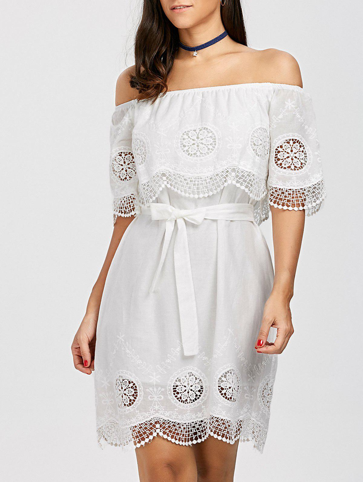 Outfits Off The Shoulder Lace Trim Scalloped Dress