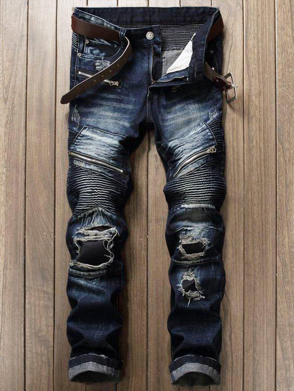 Zipper Fly Patch Design Frayed Ripped JeansMEN<br><br>Size: 32; Color: DEEP BLUE; Material: Cotton,Polyester; Pant Length: Long Pants; Fabric Type: Denim; Wash: Destroy Wash; Fit Type: Regular; Waist Type: Mid; Closure Type: Zipper Fly; Weight: 0.1450kg; Package Contents: 1 x Jeans; With Belt: No;