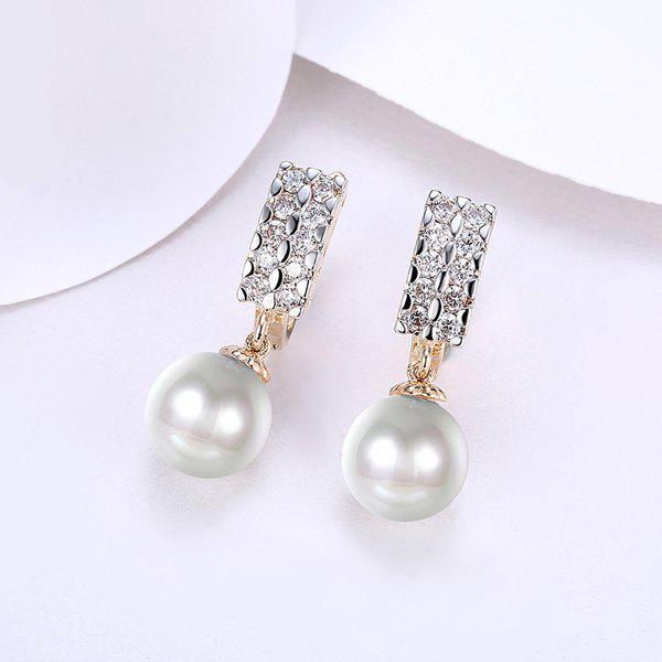 Faux Pearl Rhinestone Drop Hoop EarringsJEWELRY<br><br>Color: GOLDEN; Earring Type: Drop Earrings; Gender: For Women; Material: Rhinestone; Style: Noble and Elegant; Shape/Pattern: Geometric; Length: 3CM; Weight: 0.0300kg; Package Contents: 1 x Earring (Pair);