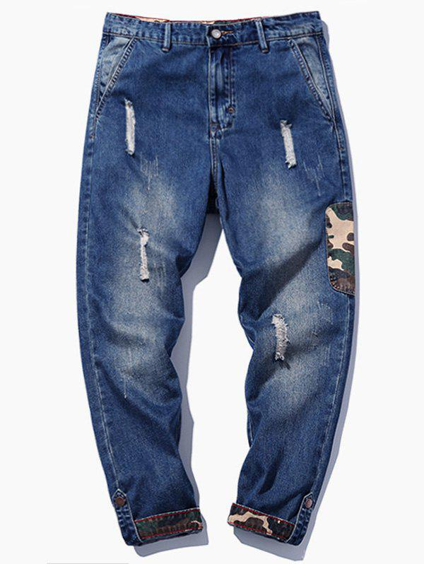 Affordable Camouflage Applique Distressed Jeans