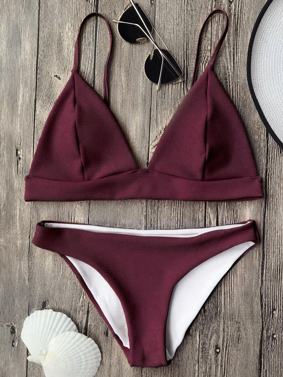 Cami Plunge Bikini Top and BottomsWOMEN<br><br>Size: M; Color: BURGUNDY; Swimwear Type: Bikini; Gender: For Women; Material: Polyester,Spandex; Bra Style: Padded; Support Type: Wire Free; Neckline: Spaghetti Straps; Pattern Type: Solid; Waist: Low Waisted; Elasticity: Elastic; Weight: 0.2000kg; Package Contents: 1 x Top  1 x Bottoms;