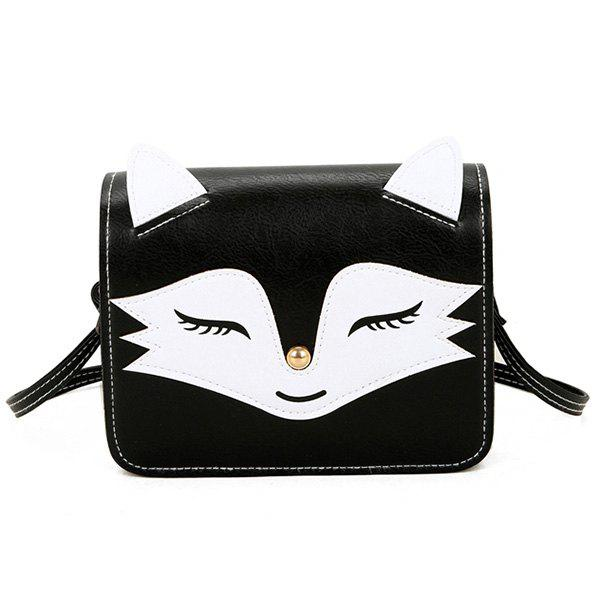 PU Leather Fox Pattern Crossbody BagSHOES &amp; BAGS<br><br>Color: BLACK; Handbag Type: Crossbody bag; Style: Fashion; Gender: For Women; Pattern Type: Character; Handbag Size: Mini(&lt;20cm); Closure Type: Cover; Occasion: Versatile; Main Material: PU; Weight: 0.2510kg; Size(CM)(L*W*H): 18*6*13; Strap Length: 120CM (Adjustable); Package Contents: 1 x Crossbody Bag;
