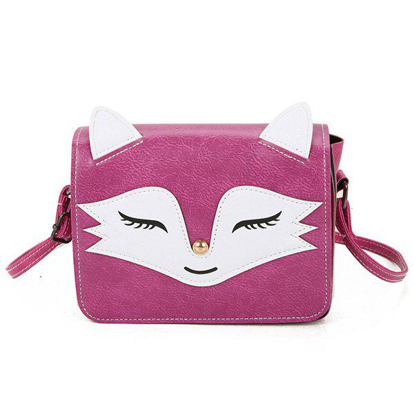 PU Leather Fox Pattern Crossbody BagSHOES &amp; BAGS<br><br>Color: ROSE RED; Handbag Type: Crossbody bag; Style: Fashion; Gender: For Women; Pattern Type: Character; Handbag Size: Mini(&lt;20cm); Closure Type: Cover; Occasion: Versatile; Main Material: PU; Weight: 0.2510kg; Size(CM)(L*W*H): 18*6*13; Strap Length: 120CM (Adjustable); Package Contents: 1 x Crossbody Bag;