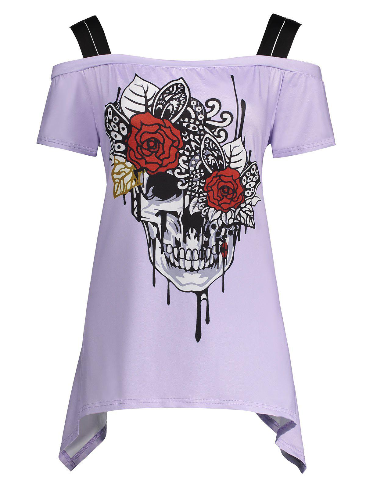 Plus Size Skull Print Cold Shoulder TopWOMEN<br><br>Size: 2XL; Color: LIGHT PURPLE; Material: Polyester; Shirt Length: Regular; Sleeve Length: Short; Collar: Spaghetti Strap; Style: Fashion; Season: Summer; Pattern Type: Skulls; Placement Print: No; Weight: 0.2500kg; Package Contents: 1 x Top;