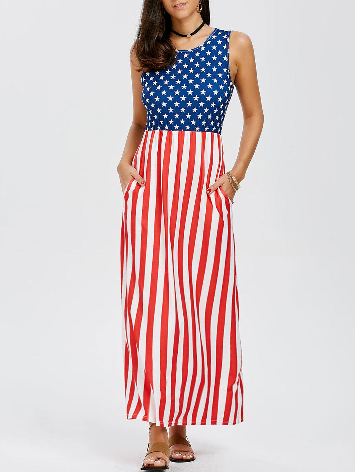 8d753494ce Outfits Sleeveless Maxi Patriotic American Flag Print Dress