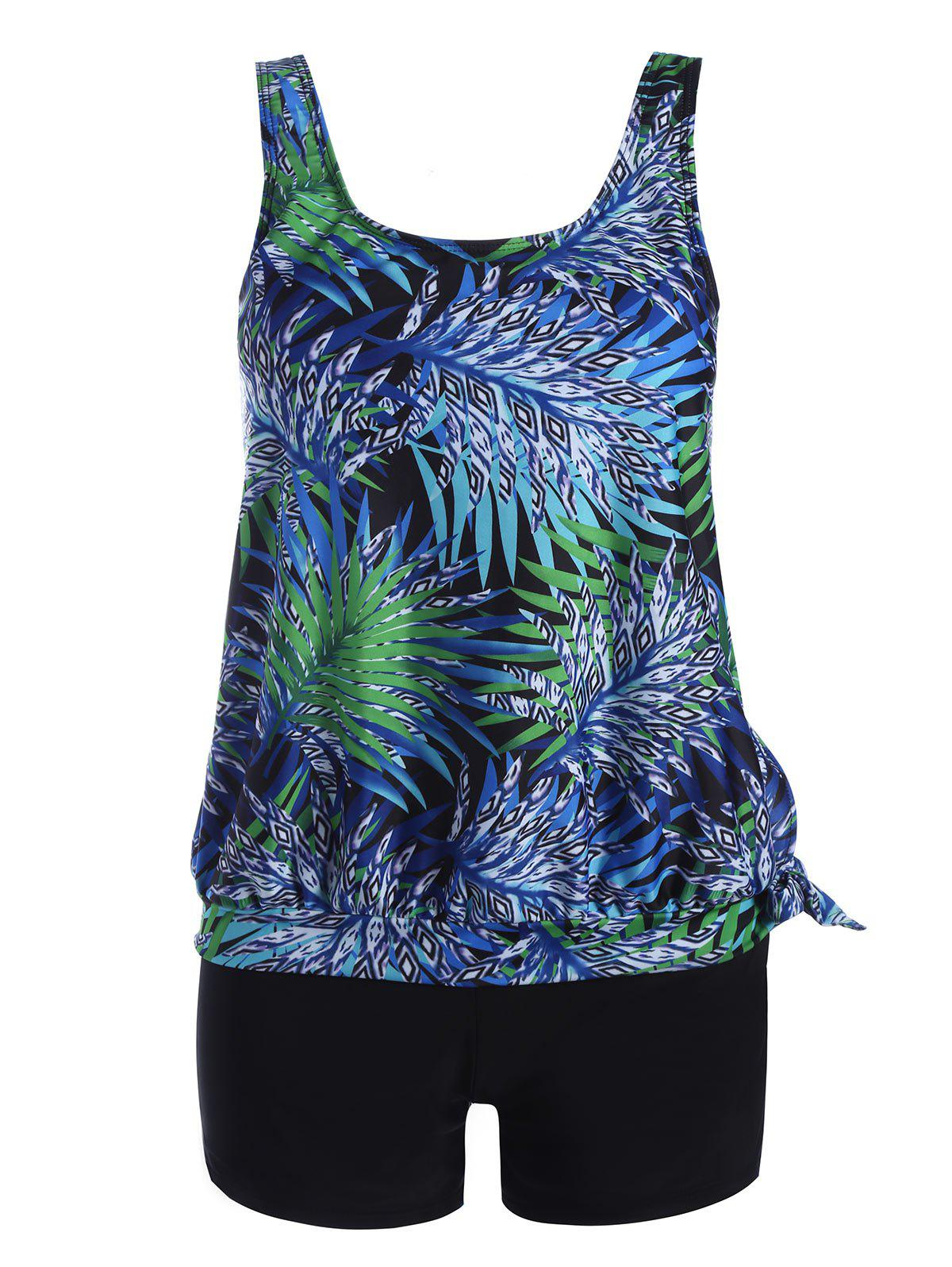 Plus Size Tropical Leaves Print Blouson TankiniWOMEN<br><br>Size: 3XL; Color: COLORMIX; Gender: For Women; Swimwear Type: Tankini; Material: Nylon,Spandex; Bra Style: Padded; Support Type: Wire Free; Pattern Type: Print; Waist: Natural; Weight: 0.3500kg; Package Contents: 1 x Top  1 x Bottom;