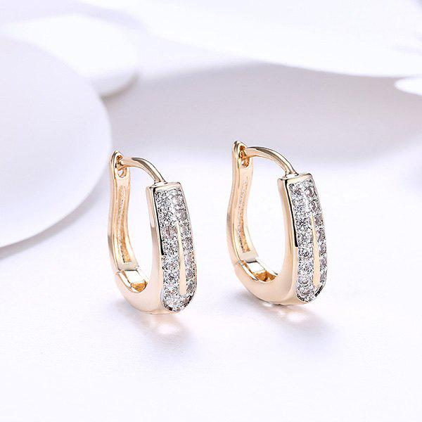 Rhinestone Alloy Horseshoe Hoop EarringsJEWELRY<br><br>Color: GOLDEN; Earring Type: Drop Earrings; Gender: For Women; Material: Rhinestone; Style: Trendy; Shape/Pattern: Others; Length: 1.5CM; Weight: 0.0300kg; Package Contents: 1 x Earring (Pair);