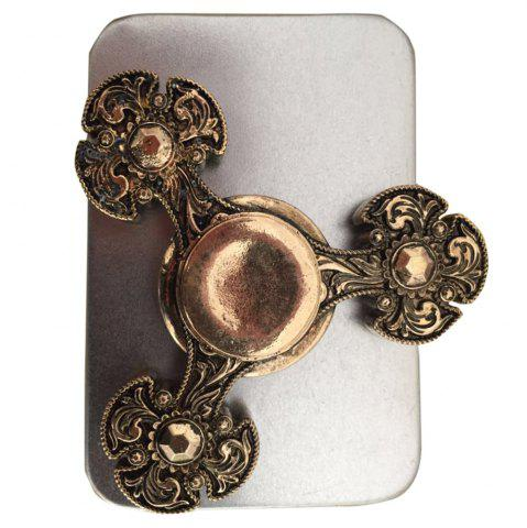 Fancy EDC Toy Metal Finger Gyro Flower Fidget Spinner BRONZE COLORED
