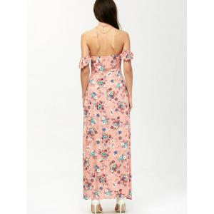 Maxi Floral Off Shoulder Beach Dress with Slit - ORANGEPINK S