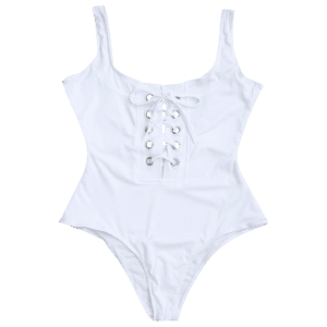 Solid Color Lace-Up One Piece Swimwear For Women - WHITE S