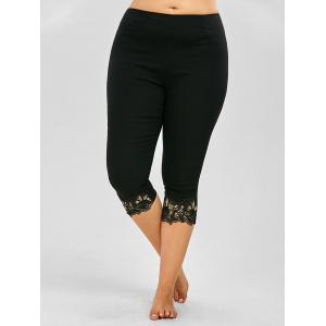 Plus Size Lace Trim Crop Pants - Black - Xl