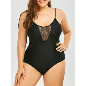 Plus Size Mesh Padded Lace Up High Cut One Piece Swimsuit