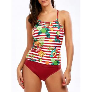 Tropical Pineapple Cross Back Tankini Set - Red - Xl