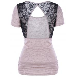 Lace Panel Sheer Open Back T-Shirt
