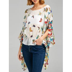 Butterfly Print Slit Sleeve Peplum Blouse - White - 2xl