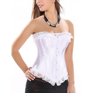 Strapless Lace-Up Satin Corset Top - White - S