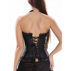 Strapless Lace-Up Satin Corset Top - BLACK 2XL