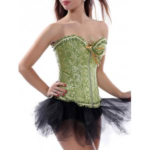 Ruffle Lace-Up Corset Top - Green - 2xl