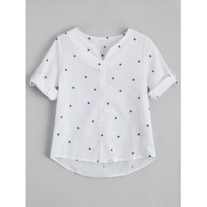 Star Print Split Neck Blouse - White - Xl