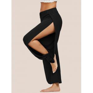Elastic Waist High Slit Harem Pants - Black - S