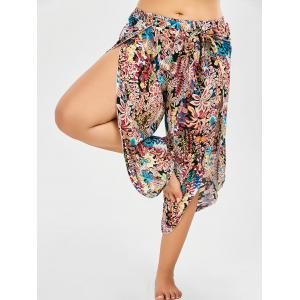 Plus Size Belted Floral Tropical Slit Palazzo Pants