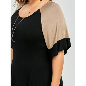 Casual Going Out Color Block Plus Size A Line Dress - BLACK 2XL