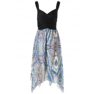 Paisley Sweetheart Neck Plus Size Handkerchief Dress