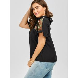 Mesh Trim Embroidered Collared Plus Size Top - BLACK 5XL
