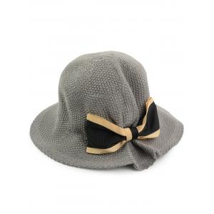Woven Bowknot Embellished Breathable Bucket Hat - Gray - One Size