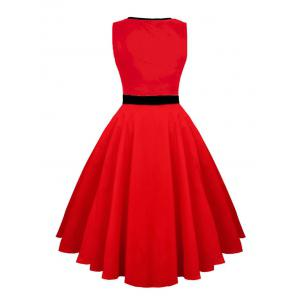 Hollow Out Vintage Skater Dress - Rouge L