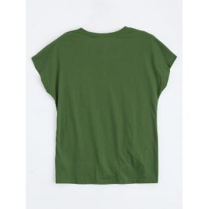 Floral Embroidered Front Twist Top - DEEP GREEN S