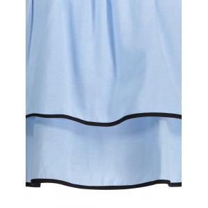 Ruffled Contrast Piped Blouse - BLUE S