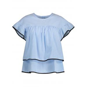 Ruffled Contrast Piped Blouse