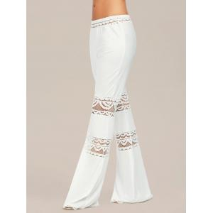 Lace Trim Elastic Waist Flared Pants - WHITE M