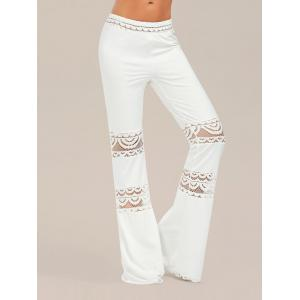 Lace Trim Elastic Waist Flared Pants
