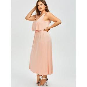 Ruffle Sleeveless Maxi Plus Size Robe - Orange Rose 2XL